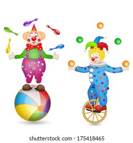 Two clowns with ball and unicycle