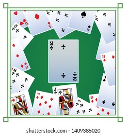 two of clubs card icon cartoon deck of cards on frame vector illustration graphic design