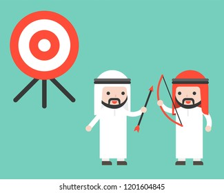 Two co workers Arab Businessman cooperation to reach goal, partnership business concept flat design