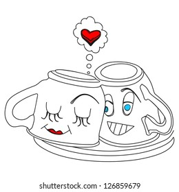 Two coffee cups in love