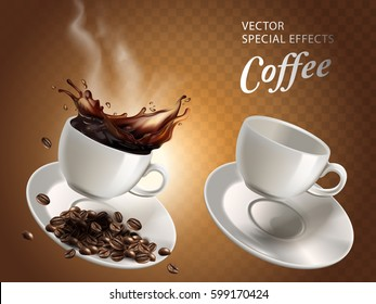 two coffee cups, one empty and one full, transparent background, 3d illustration