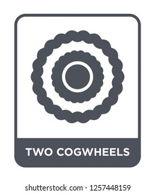 two cogwheels icon vector on white background, two cogwheels trendy filled icons from Mechanicons collection, two cogwheels simple element illustration