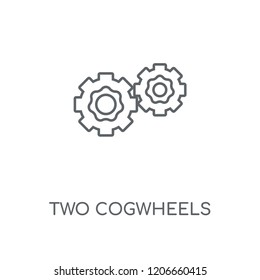 Two Cogwheels linear icon. Two Cogwheels concept stroke symbol design. Thin graphic elements vector illustration, outline pattern on a white background, eps 10.