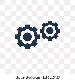 Two Cogwheels vector icon isolated on transparent background, Two Cogwheels transparency concept can be used web and mobile