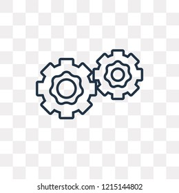 Two Cogwheels vector outline icon isolated on transparent background, high quality linear Two Cogwheels transparency concept can be used web and mobile
