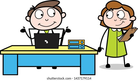 Two Colleagues Having Conversation in Office - Office Businessman Employee Cartoon Vector Illustration
