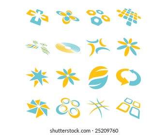 Two Color Abstract Vector Design Elements