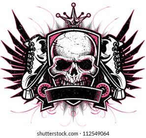 Two color grunge vector roller derby crest design with crown, skull, roller skates, crest, blank banner and elegant flourish design elements.