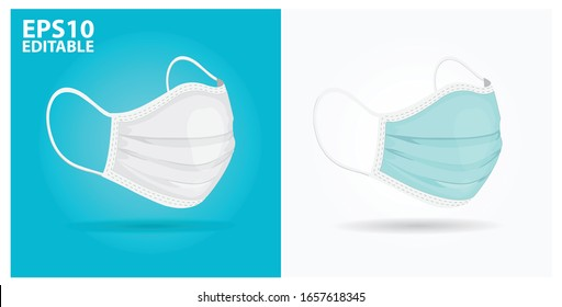 two color medical masks in isolated vector