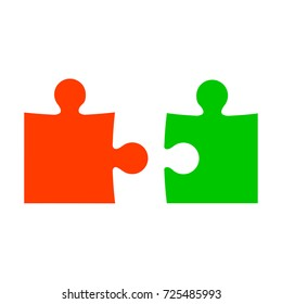Two color puzzle - stock vector
