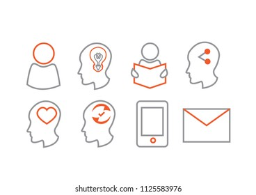 two color vector icons for CV, resume
