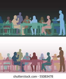 Two color versions of the same editable vector scene of people eating in a restaurant