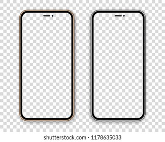 Two colored gold and gray mock up new mobile devices with empty screen, isolated on transparent background. Great template with front view for any application design.
