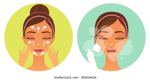 Two colored icons in a flat style: Spray for the face,  massage lines. Facials