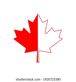 Two colored Maple Leaf from Canada Flag in bright red and thick black background.