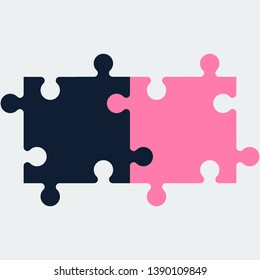 Two colored piece puzzle icon.Vector design