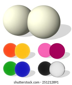 Two colored spheres  isolated on white. Vector illustration for your design.