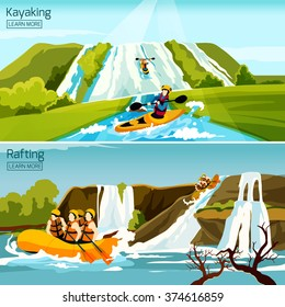 Two colorful active water sport compositions with people busy in rafting canoeing kayaking flat vector illustration