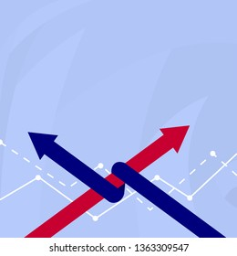 Two Colorful Arrows where One is Intertwined to the other as Symbol of Partnership, Collaboration, Agreement or Competition. Creative Background Idea for Presentation and Reports.
