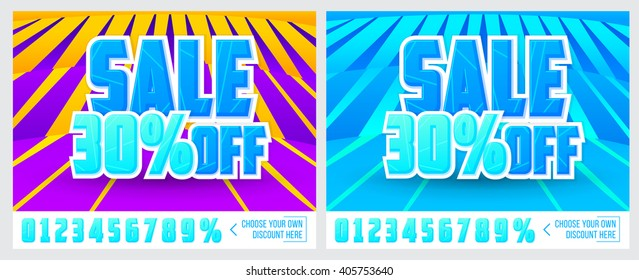 "Two colorful banner with ""Sale 30% off"" inscription."