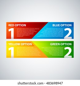 Two colorful banners, combining two options or two points of view.