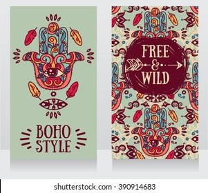 two colorful cards with hamsa symbol in boho style, vector illustration