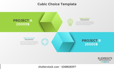 Two colorful cubic elements with ribbons places against each other. Concept of comparison, for and against, cons, pros. Infographic design template. Vector illustration for presentation, brochure.