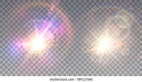 Two colorful explosions on light background in shining fog  with sparkling lens flare.