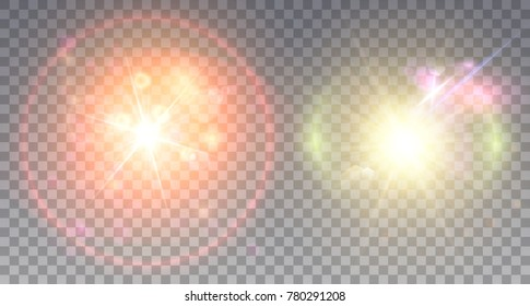 Two colorful lens flare effects red and yellow. Light particles and halo near star explosion.