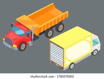 Two colorful lorry trucks on road. Motor vehicles for freight. Big automobile for fast transportation goods. Logistics delivery vector illustration