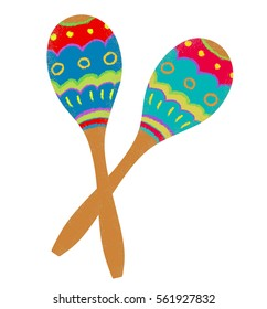 Two colorful maracas on white background.