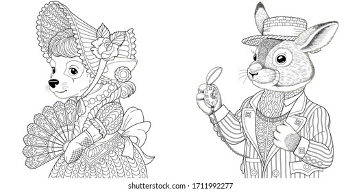 Two coloring pages with animals in vintage clothes. Dog girl and rabbit man. Line art engraving design for adult or kids colouring book in zentangle style. Vector illustration set.