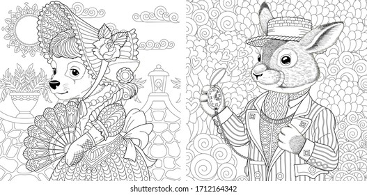 Two coloring pages with animals in vintage clothes. Dog girl and bunny man. Line art engraving design for adult or kids colouring book in zentangle style. Vector illustration set.