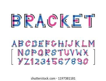 two colors modern vector font and the alphabet with brackets