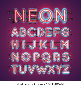 Two coloured double stroke neon character set, vector illustration