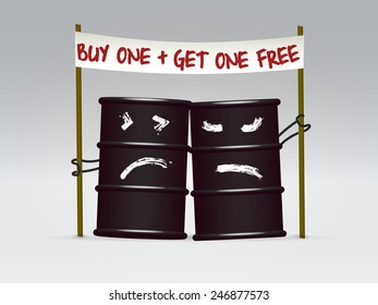 Two comic black oil barrel tin characters holding a sale banner with a cheerful slogan over light neutral background, vector illustration