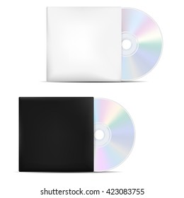 Two compact discs in light and dark blank covers - isolated on white background. Vector illustration.