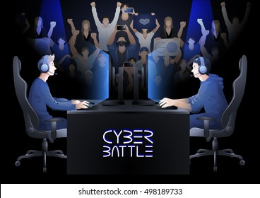Two computer players sitting at the table opposite each other with a crowd of cheering fans on the background. Side view. Vector participants of cyber sport tournament
