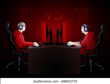 Two computer players sitting at the table opposite each other. Side view. Vector participants of cyber sport tournament