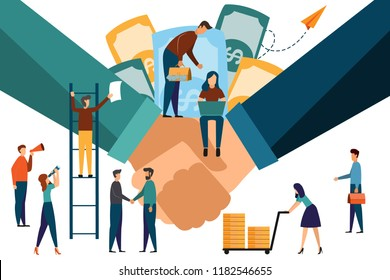Two confident business hands are shaking hands together in an office. Business concept. Modern flat illustration.