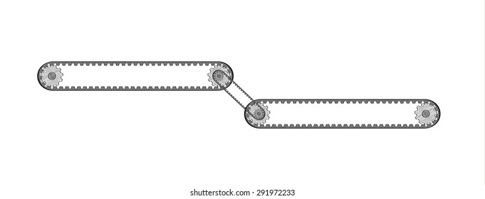 two connected conveyor belts with two cogwheels, crosshatched image