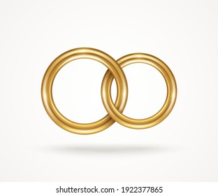 Two connected gold engagement rings isolated on white background. Vector illustration. Golden jewelry for married couple, wedding symbol for save the date invitation card. Endless love icon