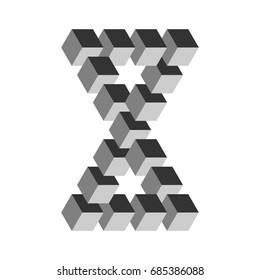 Two connected impossible triangles in grey. 3D cubes arranged as geometric optical illusion. Reutersvard traingle. Vector illustration.