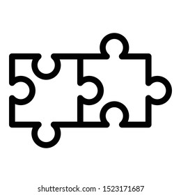 Two connected puzzles icon. Outline two connected puzzles vector icon for web design isolated on white background