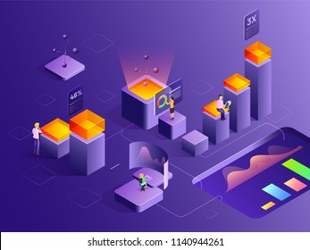 Two corporate sectors with different growth chart, analysts analysis the data with the help of bar graph. Isometric design for website template.