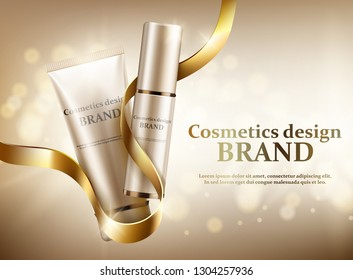 Two cosmetic jars with a gold ribbon on a gold background. Vector illustration