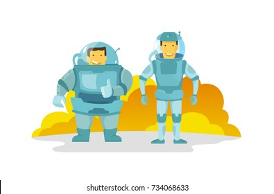 Two cosmonauts in the spacesuit., fat and thin. Shows the finger up. Happy and smiling. new planet.