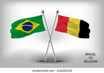 TWO COUNTRY FLAGS. BRAZIL AND BELGIUM. VECTOR EPS