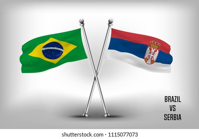 TWO COUNTRY FLAGS. BRAZIL AND SERBIA VECTOR EPS.
