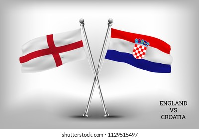 TWO COUNTRY FLAGS. ENGLAND AND CROATIA. VECTOR EPS.